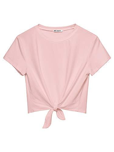 HUHOT Womens Short Sleeve Summer Casual Tie Knot Crop Shirt Going Out Tops Pink Medium ¡