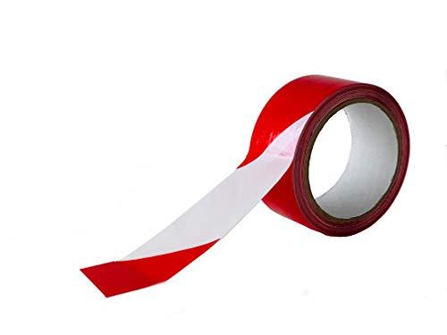 Cinta adhesiva señalización Blanco/Rojo 48 mm x132 metros