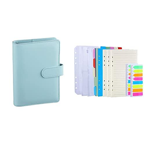 Antner A6 PU Leather Notebook Binder (Mint Blue) Bundle | 3 Pack A6 Refill Paper, 2 Pack 160pcs Neon Page Markers, 10pcs Binder Dividers, 3pcs Binder Pockets
