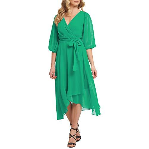 DKNY Vestido Cruzado de imitación para Mujer, Manzana Verde (Apple Green), 12
