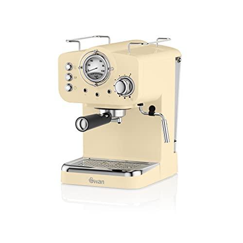 Swan Retro Pump Espresso Coffee Machine, Cream, 15 Bars of Pressure, Milk Frother, 1.2L Tank, SK22110CN