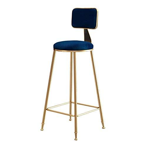 Barkruk stoel met rug keuken/kroeg barkruk hoog zadel goud metaal |moderne eetkamerstoelen vrije tijd |zithoogte 65/75cm |kussen blauw velvet