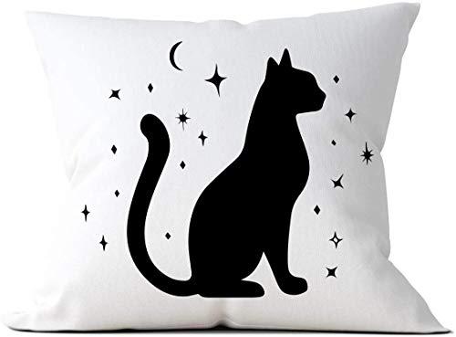 Tarot - Funda de cojín con diseño de gato y gatito, color negro