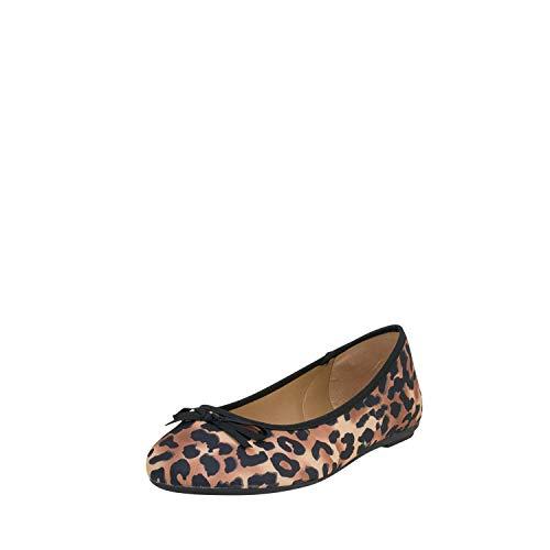 Fitters Footwear That Fits Damen Ballerina Roberta Microfibre Ballerinas mit Leo-Print Übergröße (43 EU, Leopard)