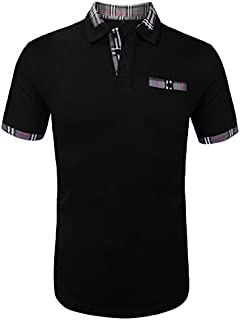 Daupanzees Men's Classic Casual Short Sleeve Plaid Collar Jersey Polo Shirt