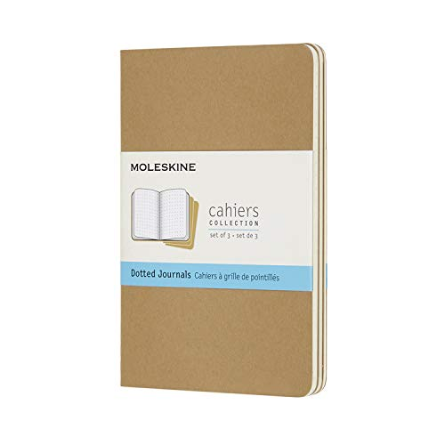 Moleskine Cahier Notizhefte (Punktraster, Pocket/A6, Kartoneinband) 3er Set packpapierbraun (CAHIERS)