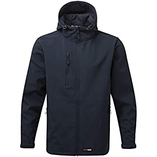 New Mens Softshell Fleece Waterproof Windproof Fabric Thermally Lined Jacket Warm Comfortable Casual Black Heavy Durable Fabric Full Zip Front Zipped Side Pockets Leisure Workwear Navy (L (Hood))