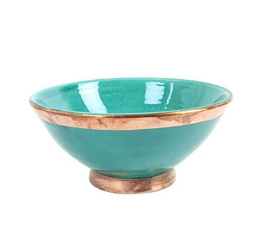 Bol de cerámica marroquí envejecido con borde de cobre pintado a mano en color verde jade safi, tamaño mediano, 20 cm