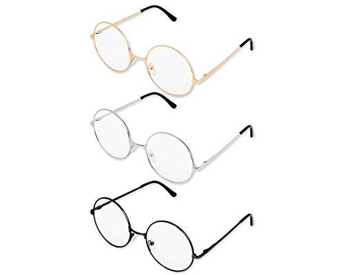 SCSpecial Metalen Frame Ronde bril Retro Metal Heldere lens bril, unisex, zwart, goud, zilveren kleur, 3 paar