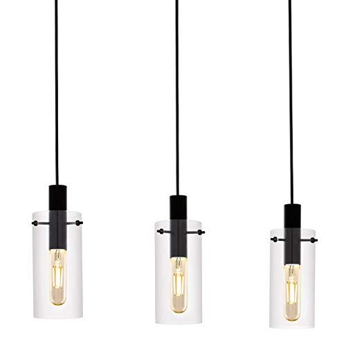 EGLO Lámpara colgante Montefino, 3 focos, lámpara de techo moderna, lámpara de techo de metal en negro y cristal transparente, lámpara de comedor, lámpara de salón colgante con casquillo E27