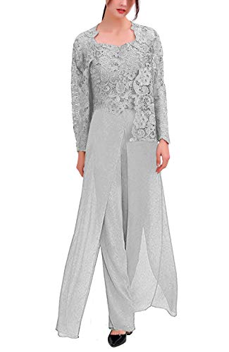 Women's 3 Pieces Chiffon Dress Mother of The Bride Pants Suits with Lace Jacket Wedding Outfit Evening Gown Silver US2