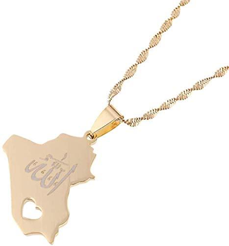 TYWZH Collar con Colgante de Mapa de la República de Irak, Collar con Colgante de Nombre de Allah de Color Dorado, joyería de corazón de Allah N