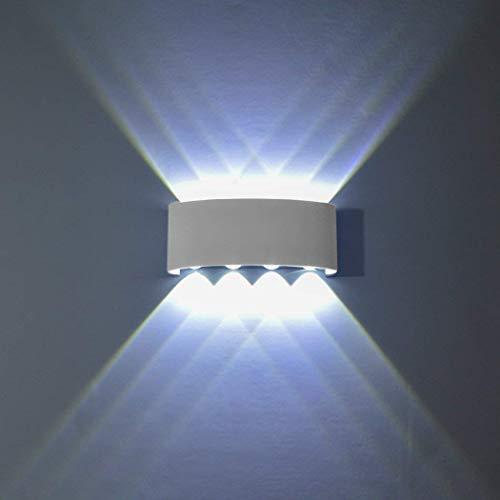 Topmo-plus Apliques de Pared Moderna Lámpara de Pared Exterior IP65 Impermeable Lámpara en Moda Agradable/Puri COB Luz de Ambiente Porche, Patio, Jardín blanco (8W Blanco frío)