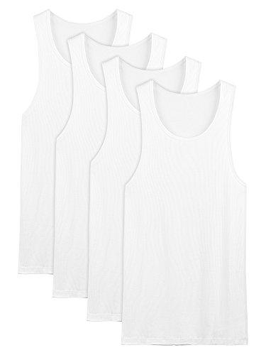 David Archy Men's 4 Pack Cotton Rib Tank Top A-Shirts Sleeveless Workout Undershirts(White,L)