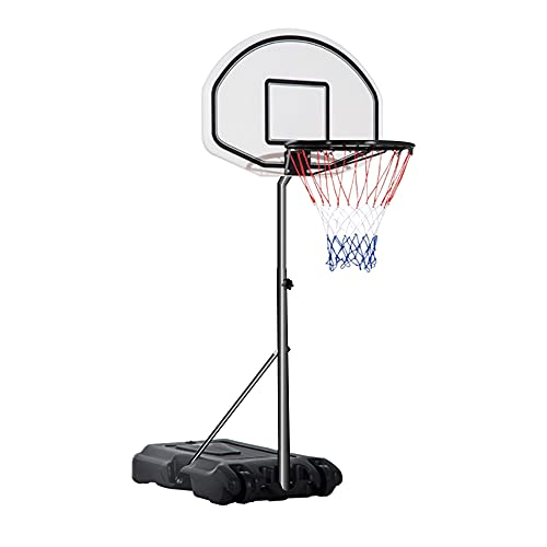 """Swimming Pool Basketball Hoop, Height Adjustable 47""""-35"""", Portable Basketball Stand by The Pool, Suitable for Children, Poolside, The Largest Applicable Ball Type 7# White & Black"""