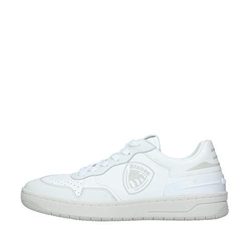 Blauer Dayton Sneakers Scarpe Uomo Pelle Bianco Bianco/45