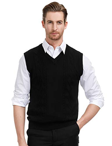 Paul Jones Men's Twisted Pattern Cable Knitted V Neck Vest Sweater Size S Black