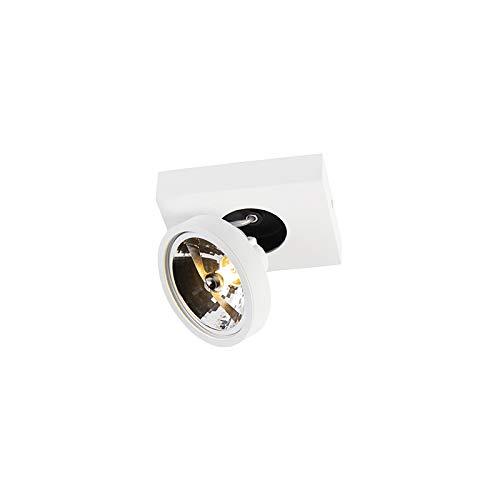 QAZQA - Modern Moderner Spot weiß schwenk- und neigbar - Go 1 | Wohnzimmer | Schlafzimmer | Küche - Aluminium Rechteckig - LED geeignet G9