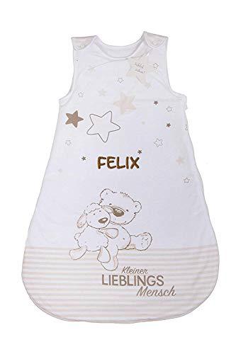 Wolimbo Baby Schlafsack mit Namen bestickt kleiner LIEBLINGSMENSCH Motiv ganzjährig 70cm