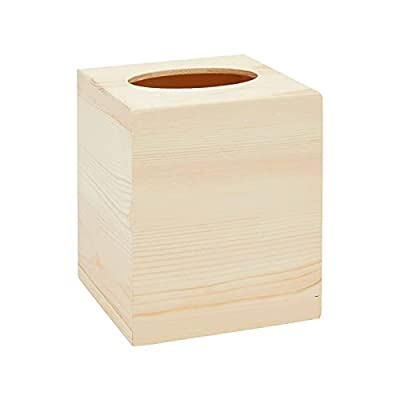 Bright Creations Unfinished Wooden Tissue Box Cover, Square Wood Holder for Home (5 x 5 x 5.8 in)