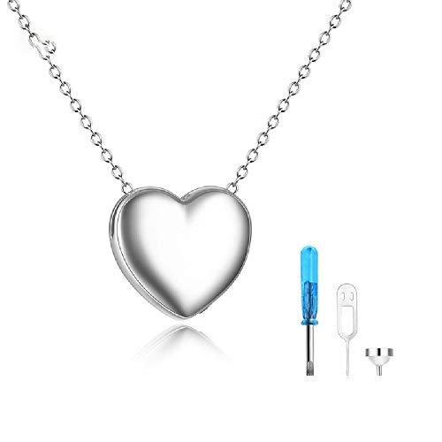 Aschenbecher, 925 Sterlingsilber-Halskette Glänzende Liebe Asche-Kasten mit Anhänger, kann eine kleine Menge an Asche und kleine Souvenirs Halten,Silver