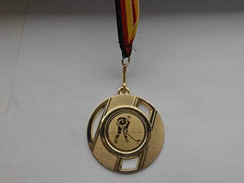 100 Stück Medaillen aus Metall 50mm - mit Einem Emblem, Eishockey - inkl. Medaillen Band - Farbe: Gold - (e257) -