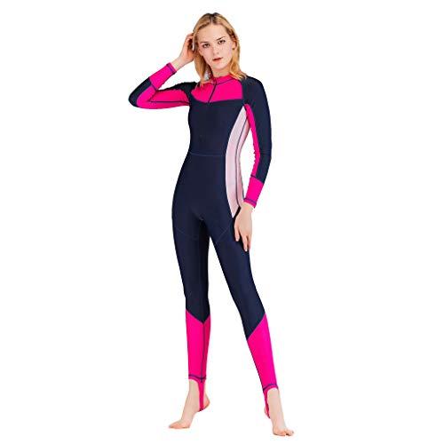 QIMANZI Taucheranzug Damen Herren Mädchen Ganzkörperansicht Badeanzug Overall Surfanzug Lange Ärmel Swimwear Strand Watersport UV Schutz Schwimmanzug(C Pink,XL)