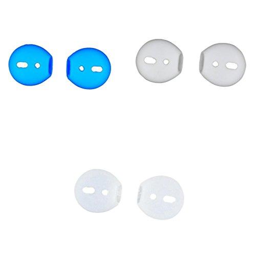 #N/A 3 Pares De Auriculares Eartips Earbuds Cubierta De Piel para Airpods iPhone 7 Earpods Blanco + Azul + Claro