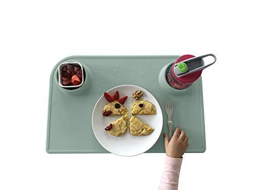 Bellivia eat & play pad (Grün) – innovative Essunterlage & Bastelunterlage | Tischset, Platzmatte, Platzset für Kinder und Babies | rutschfest, abwaschbar, BPA-frei | gratis Baumwolltasche