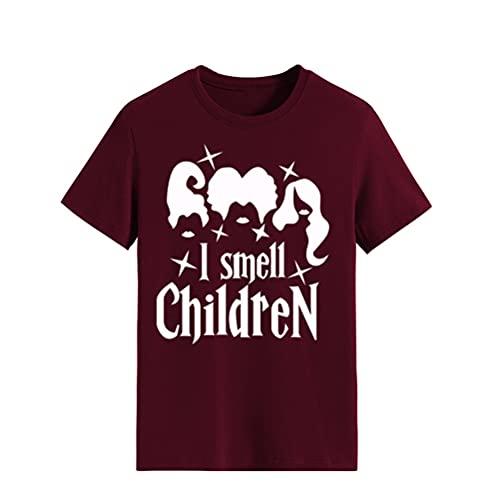 FREEPPCC Camiseta de manga corta con estampado de letras y cuello redondo para mujer de Halloween, Vino Rojo, M