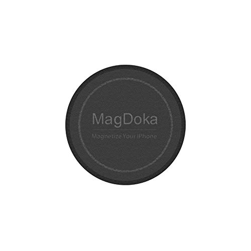 MagEasy Magnetic Mount Plate - MagDoka, Universal Magnet Adhesive Sticker for Car Phone Holder & Cradle, MagSafe Wireless Charging Support, Compatible with iPhone 6/6s/7/8/X/XR/XS/11/12/SE - Black
