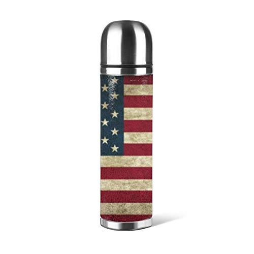 Botella de agua de acero inoxidable rústico con diseño de bandera estadounidense de Estados Unidos, con aislamiento al vacío, de cuero, a prueba de fugas, doble pared, contenedor de viaje, termo de 500 ml
