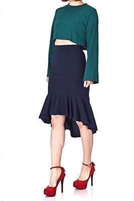Dani's Choice Imposing High Waist Mermaid Trumpet Line High Low Unbalance Frilled Ruffled Hem Midi Skirt