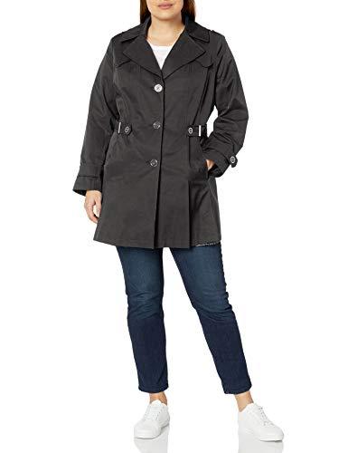 Via Spiga Women's Plus-Size Single Breasted Pleated Trench Coat, Black, 3X