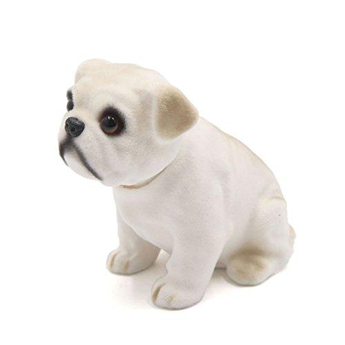 uxcell Car Dog Shape Nod Nodding Bobblehead Dashboard Decoration White