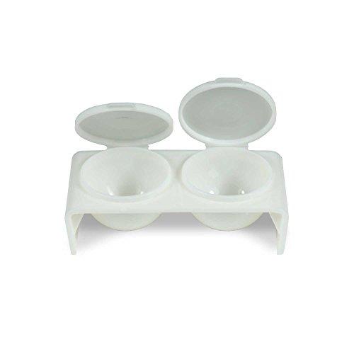 Double Dappen Dish Blanc pour acrylique et gel en boîte rangement Limes