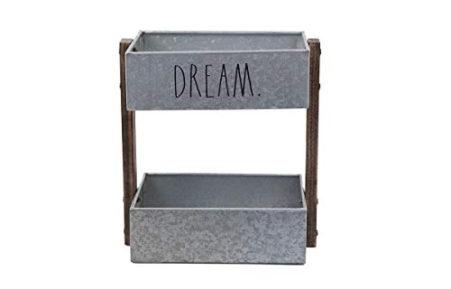 Rae Dunn 2 Tier Desk Organizer – Galvanized Steel Caddy with Wood Accents, Tabletop or Floor Design – Chic, Stylish Storage Bin for Office, Home or Kitchen – Dream Print - Rae Dunn by Designstyles