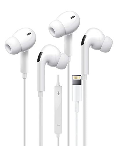 【2 Pack】 Auriculares con iluminación para iPhone Auriculares estéreo internos Micrófono Incorporado y Control de Volumen Compatible con iPhone iPhone 12/11/XS/XR Compatible con Todos los Sistemas iOS