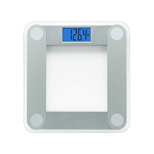 EatSmart Products Free Body Tape Measure Included Digital Bathroom Scale with Extra Large Lighted Display, One Size, Clear
