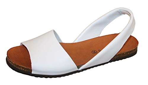 Grunland Demi 1623 Sandalo in Pelle MENORCHINA (Bianco, Numeric_39)