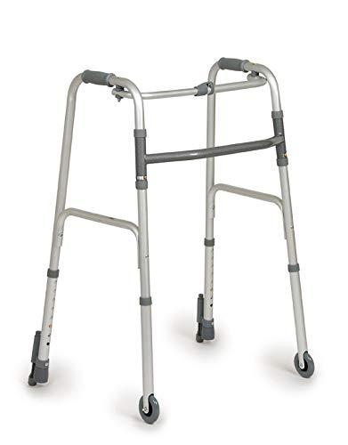 Deambulatore pieghevole, regolabile in altezza con 2 ruote e 2 puntali con autobloccante