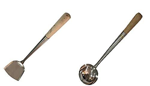 Sunrise Commercial Grade Wok Shovel 16.75' (#3) & Ladle 16.75' (#3)) Set