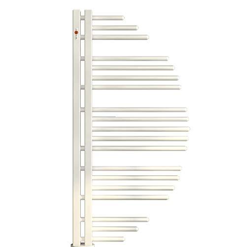 Mert Aycan Design Heizung gebogen elektrisch oder Warmwasser 1/2 Zoll Bad-Heizung 800x500 Bad-Heizkörper Anschluss 50 mm weiß Handtuchhalter für Wandmontage