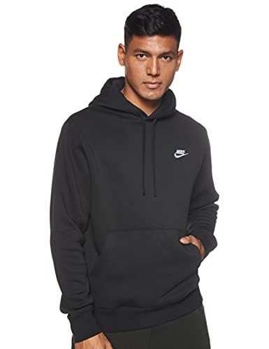 Nike Herren Hoodie Sportswear Club Fleece, Black/Black/White, XL, BV2654-010