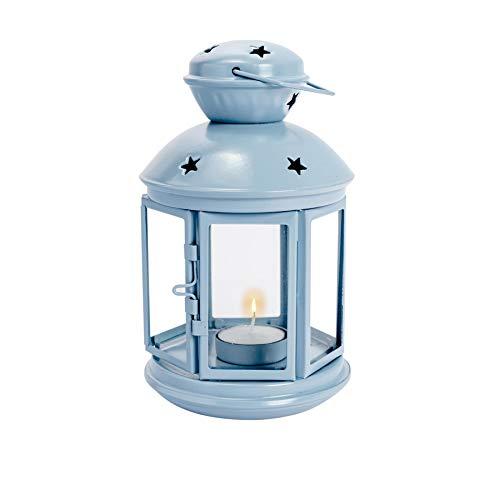 Nicola Spring Laterne mit Teelichthalter zum Aufhängen - Metall - Vintage-Optik - für drinnen & draußen - Blau - 20 cm