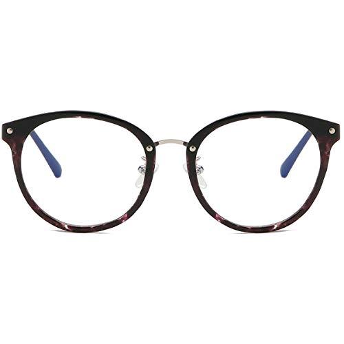 SOJOS Retro Round Blue Light Blocking Glasses TR90 Computer Eyeglasses Ashley SJ9001 with Purple Marble Frame/Anti-Blue Light Lens