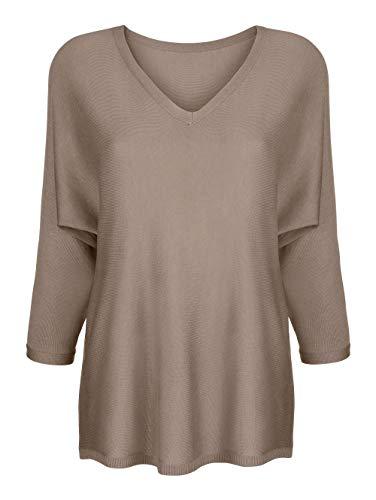 Alba Moda Damen Glattstrick Pullover mit 3/4-Ärmel in Taupe in Softer Qualität
