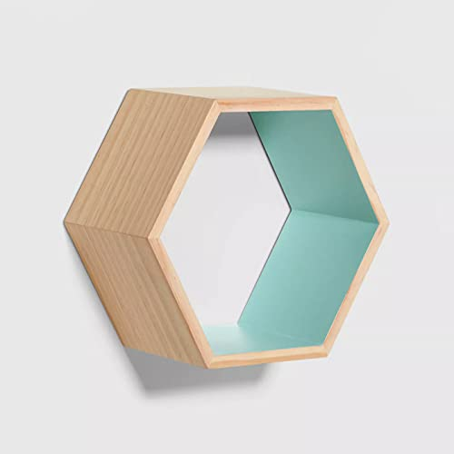 Taiyuan Jinhua Juego de 2 estantes de pared hexagonales de madera de pino flotantes para decoración de habitación de niños, dormitorio, sala de estar, cocina, baño (1, verde virescent)