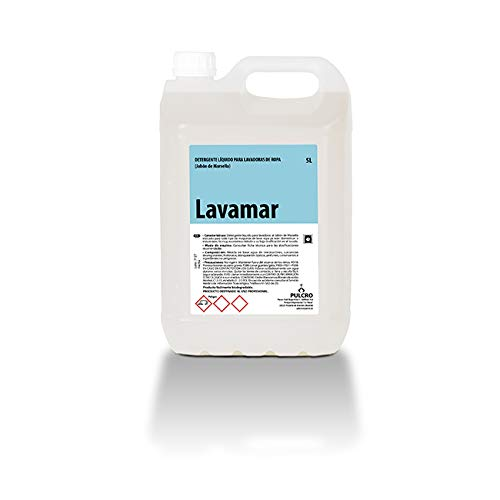 Detergente lavadoras (Jabón de Marsella) LAVAMAR 5 Lts. Apto uso en hogares, restaurantes, cafeterías, hoteles, residencias, hospitales, albergues, hoteles o gimnasios.