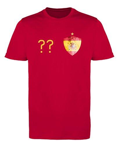 Comedy Shirts - Spanien Trikot - Wappen: Klein - Wunsch - Herren Trikot - Rot/Gelb Gr. XL
